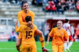 Agnese Bonfanti esulta dopo il secondo goal della Roma