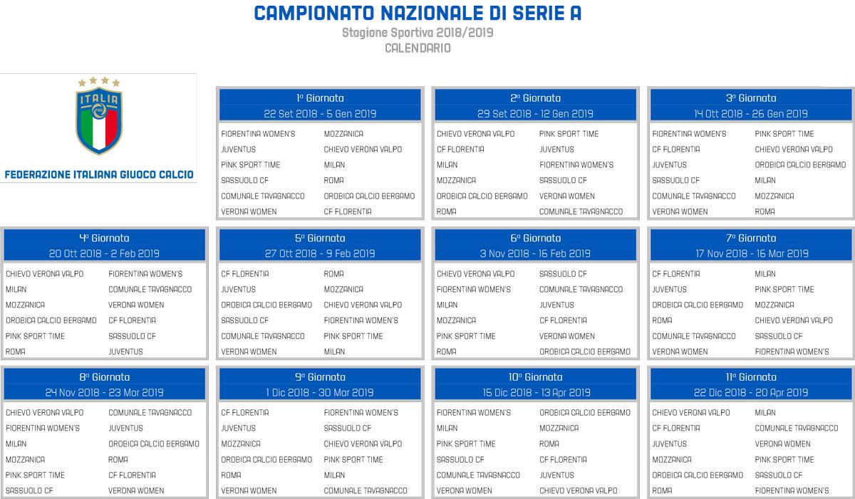 Italia Nazionale Calendario.La Figc Ufficializza I Calendari Della Serie A Femminile E