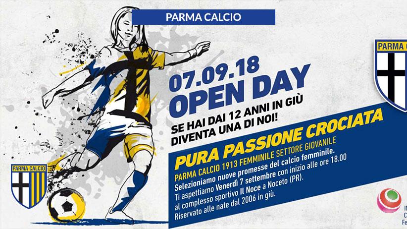 """691c70d85 ... al Complesso Sportivo """"Il Noce"""" di Noceto, si terrà un """"Open Day""""  organizzato dal neonato Settore Giovanile Femminile del Parma Calcio 1913."""