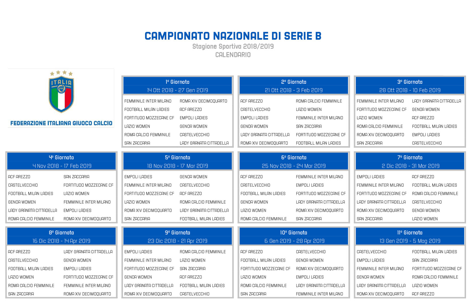 Calendario Campionato Portoghese.Ufficializzato Il Calendario Della Serie B Femminile Il Via