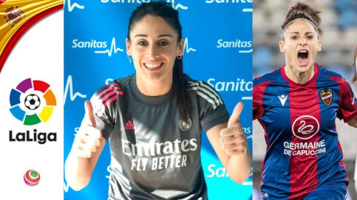 Esther Gonzalez con la maglia del Real Madrid e del Levante
